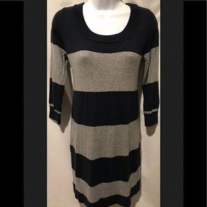 GAP Dress Gray Blue Striped Tunic Sweater Scoop